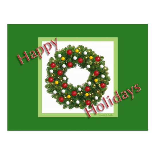 Holiday Wreath Postcard