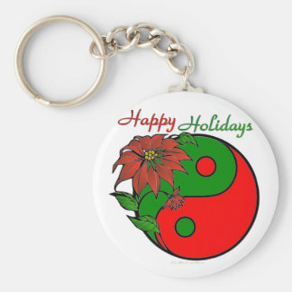 Holiday Yin Yang Poinsettia Green Red Basic Round Button Key Ring
