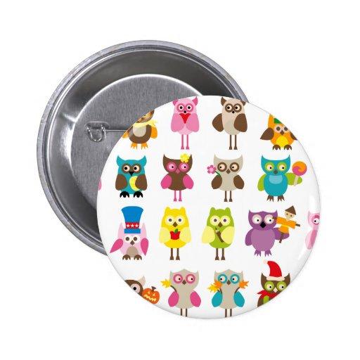 HolidayOwls1 Pinback Button