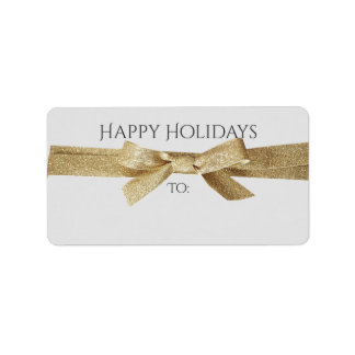 Holidays Address or Gift Labels | Gold Ribbon