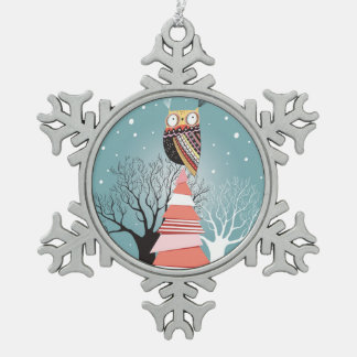 Holidays Card With An Owl On The Tree Snowflake Pewter Christmas Ornament