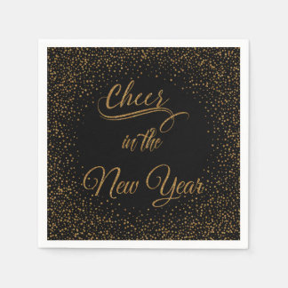 Holidays - Cheer In The New Year Gold Glitter Paper Serviettes