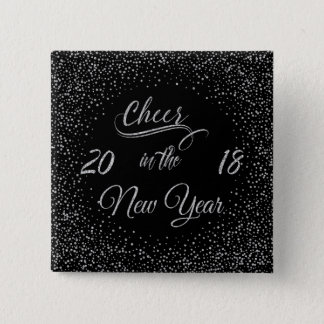 Holidays - Cheer In The New Year Silver Glitter 15 Cm Square Badge