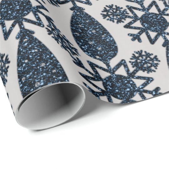 Holidays Christmas Cone Snowflake Silver Blue Navy Wrapping