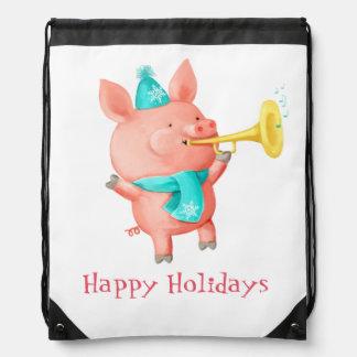Holidays Cute Pig Drawstring Backpack