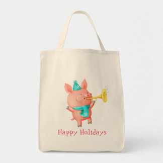 Holidays Cute Pig Grocery Tote Bag