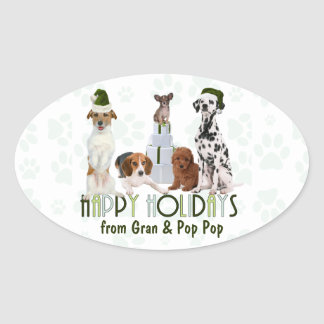 Holidays Dogs From the Pack | Christmas Green Oval Sticker