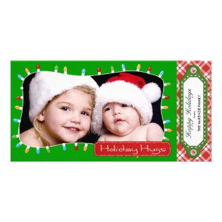 Holidays hugs Green Custom Photo Card