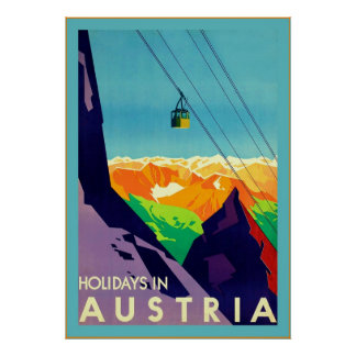 Holidays In Austria Vintage Travel Print