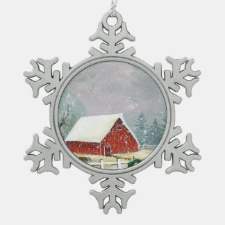 Holidays on the Homestead Snowflake Pewter Christmas Ornament