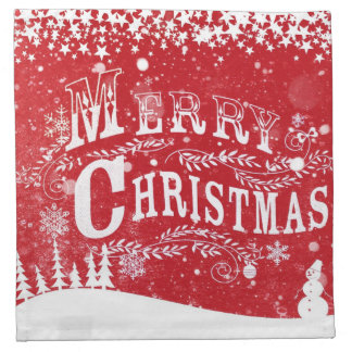 Holidays red white snow christmas red and white napkin