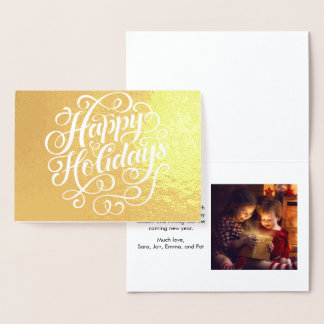 Holidays Script Family Photo Gold Foil Card