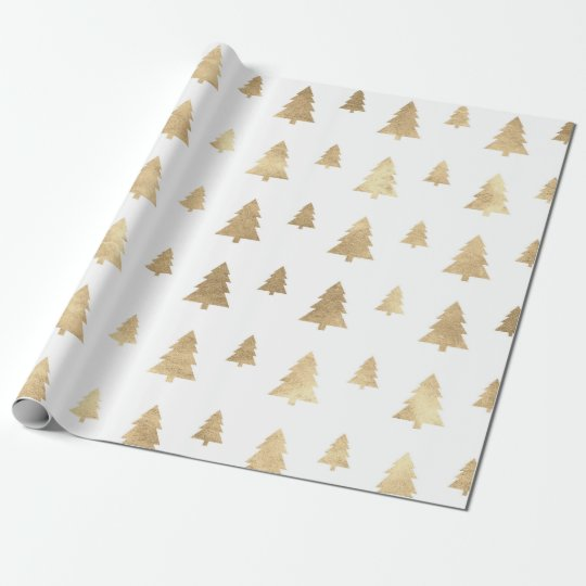 Holidays White Golden Christmas Tree Wrapping Paper