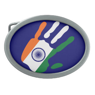 holiES - India Flag Hand Oval Belt Buckle