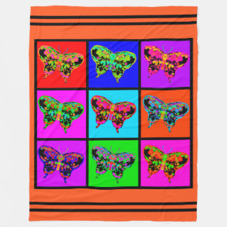 holiES - Psychedelic Butterflies Mosaic / stripes Fleece Blanket