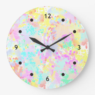 holiES - Splashes seamless pattern pastel 1 Large Clock