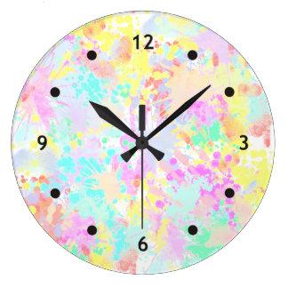 holiES - Splashes seamless pattern pastel 1 Wallclock