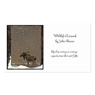 Holilday Moose in Snow Business Card Templates