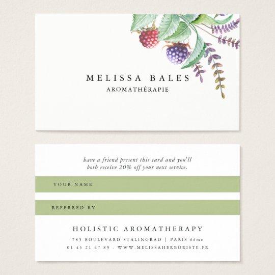 Holistic Aromatherapist Organic Spa Referral Card
