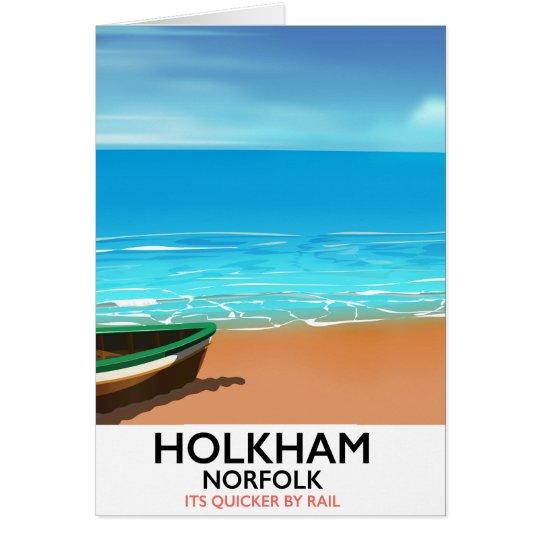 Holkham Norfolk Beach travel poster Card