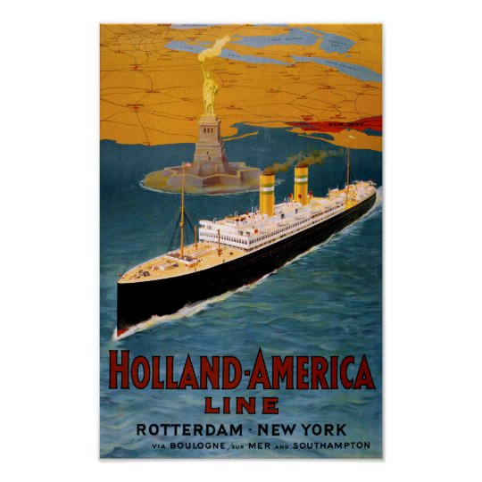 Holland America Line Vintage Poster Restored