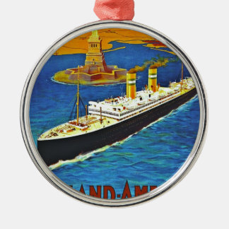 Holland America Line Vintage Travel Poster Christmas Ornament