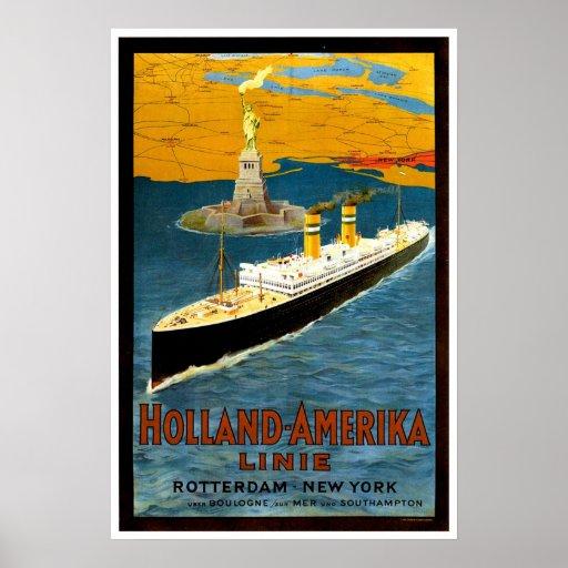 Holland Amerika Line Vintage Ship Advertisement Poster