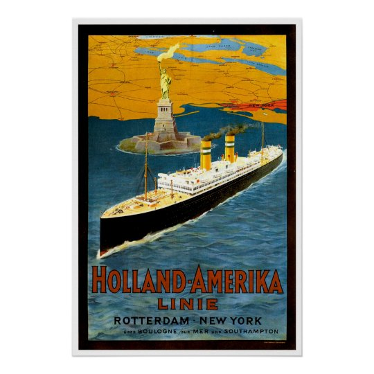 Holland Amerika Line Vintage Ship Advertisement Poster