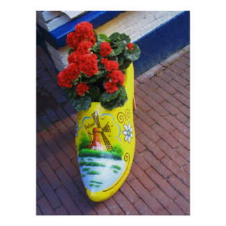 Holland Clog with Dutch Red Flowers Poster Print