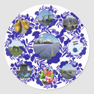 Holland Delft Blue Delftware Classic Round Sticker