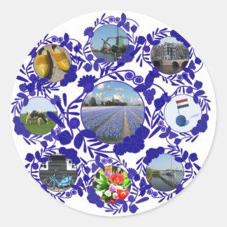 Holland Delft Blue Delftware Round Sticker