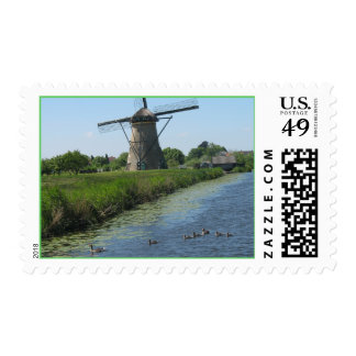 Holland Ducks in Canal and Windmill Postage Stamp