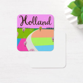 Holland fields travel poster square business card