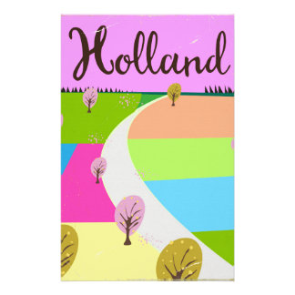 Holland fields travel poster stationery