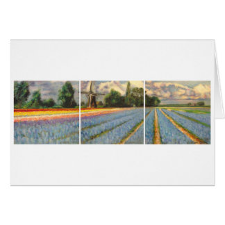 Holland Flower Fields Landscape Painting Triptych Card