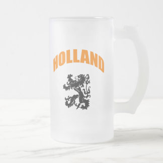 Holland lion frosted glass beer mug