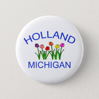 Holland, MI - w/Tulips 6 Cm Round Badge