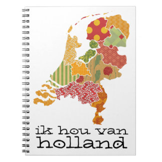 Holland Province Map Bohemian Patchwork Style Spiral Notebook