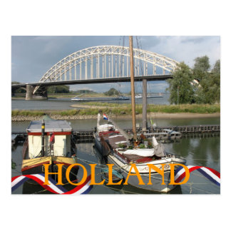 Holland River Waal Bridge and Boats Postcard