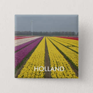 Holland Tulip Field Square Button
