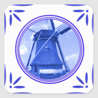 Holland Windmill Delft-Blue-Tile-Look Printed Square Stickers