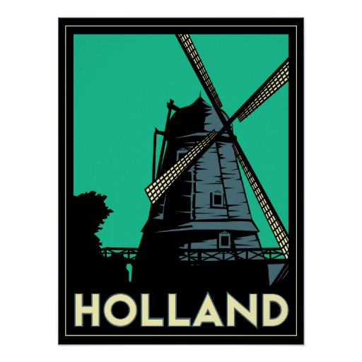 holland windmill europe art deco retro poster