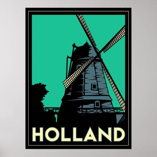 holland windmill europe art deco retro poster