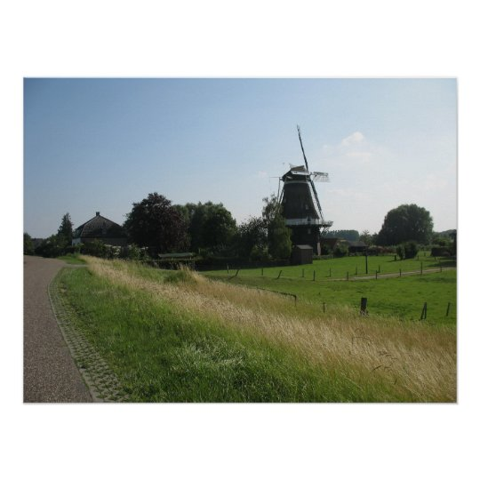 Holland Windmill Landscape Photo Poster Print