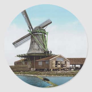 Holland Windmill Round Sticker