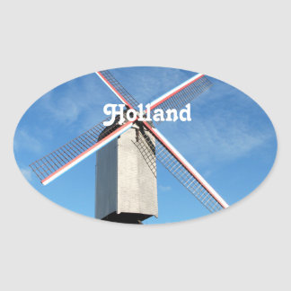 Holland Windmill Oval Stickers