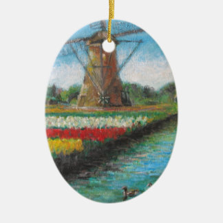Holland Windmill Tulip Fields Painting Ceramic Oval Decoration