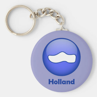 Holland Wooden Shoe Basic Round Button Key Ring