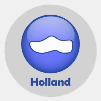 Holland Wooden Shoe Round Sticker