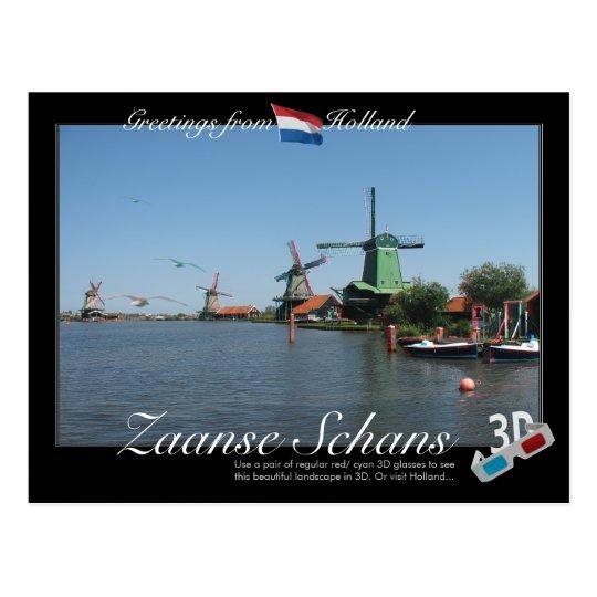 Holland Zaanse Schans Windmil 3D Anaglyph Postcard